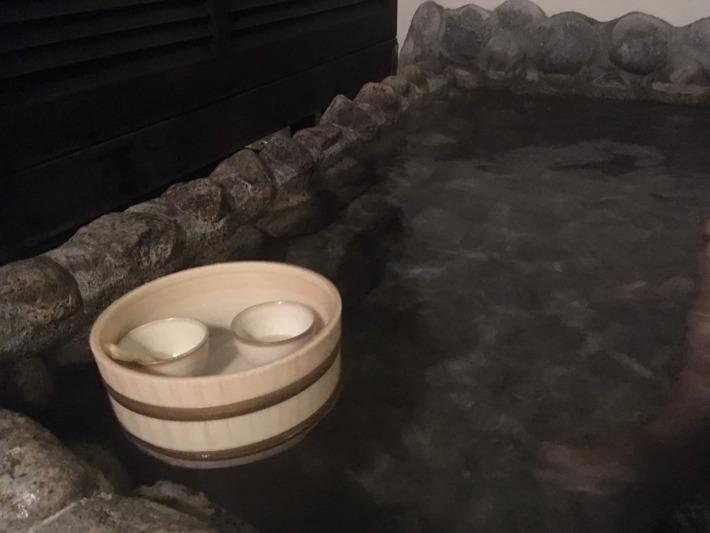 【仙石原 品の木 一の湯】客室露天風呂と日本酒