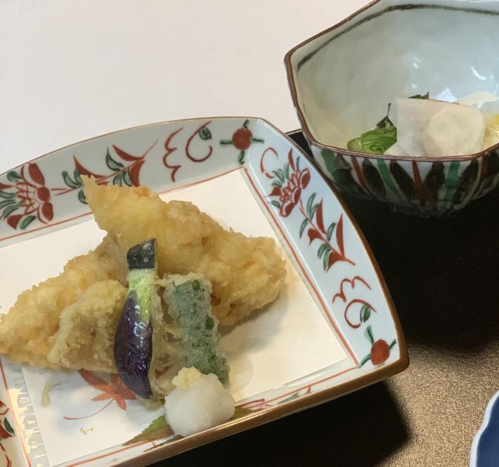 人丸花壇 夕食:穴子の天ぷら