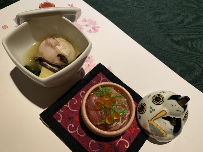 里の湯 和らく 食事処 お雛様の器に入った料理