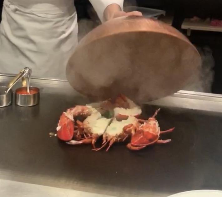 エクシブ湯河原離宮 鉄板焼きレストラン 夕食 コース料理 鉄板焼